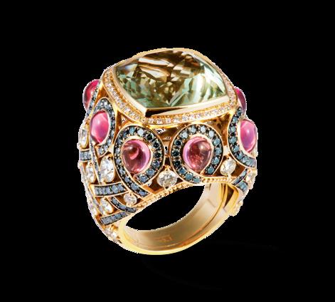 Кольцо из золота с бриллиантами, аметистами и турмалинами, артикул 33415 - Baskrin