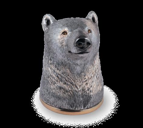 Рюмка-перевертыш из серебра с позолотой и гранатами, артикул медведь - Baskrin