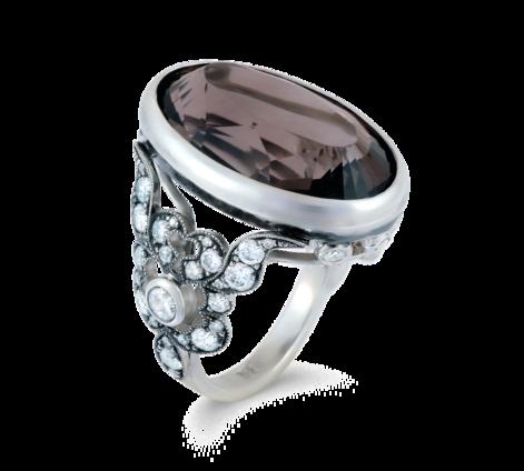 Кольцо из серебра с фианитами и раухтопазом, артикул 33534 - Baskrin