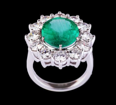 Эксклюзивное кольцо из белого золота с бриллиантами и изумрудом, артикул 33128 - Baskrin
