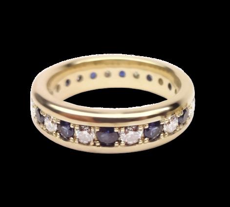 Кольцо из золота с бриллиантами и сапфирами, артикул 33445 - Baskrin