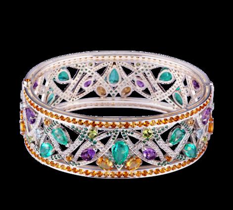 Браслет из серебра с драгоценными камнями, артикул 73455 - Baskrin