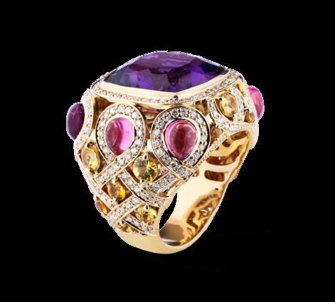 Кольцо из золота с бриллиантами, аметистами и турмалинами и сапфирами, артикул 33415-1 - Baskrin