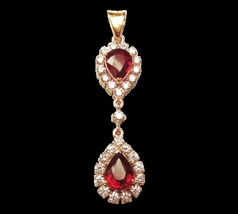 Подвеска из золота с бриллиантами и рубинами, артикул 63267 - Baskrin