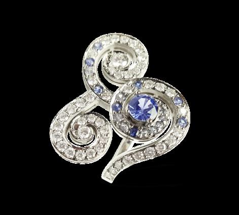 Кольцо из белого золота с бриллиантами и сапфирами, артикул 33234 - Baskrin