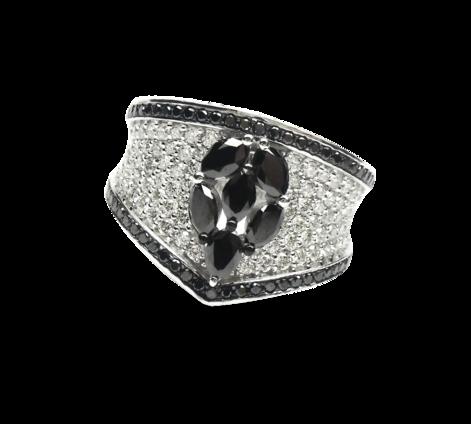 Кольцо из белого золота с белыми и черными бриллиантами, артикул 33187 - Baskrin