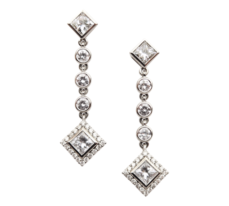 Серьги из белого золота с бриллиантами, артикул 43219 - Baskrin