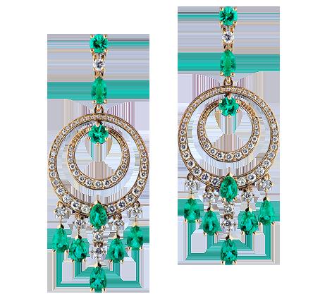 Эксклюзивные золотые серьги с бриллиантами и изумрудами, артикул 43559 - Baskrin