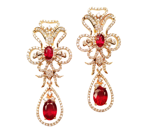 Серьги из золота с бриллиантами и рубинами, артикул 41136 - Baskrin