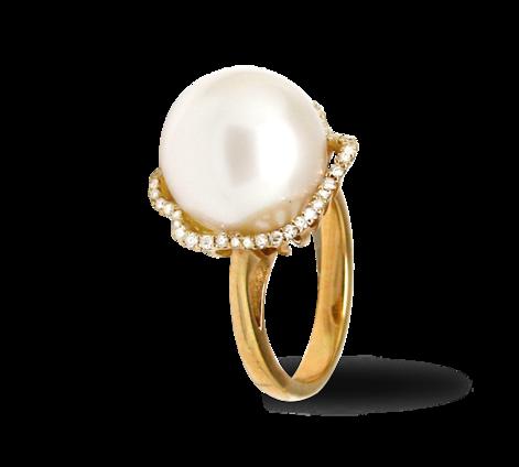 Эксклюзивное золотое кольцо с жемчугом и бриллиантами, артикул 33235 - Baskrin