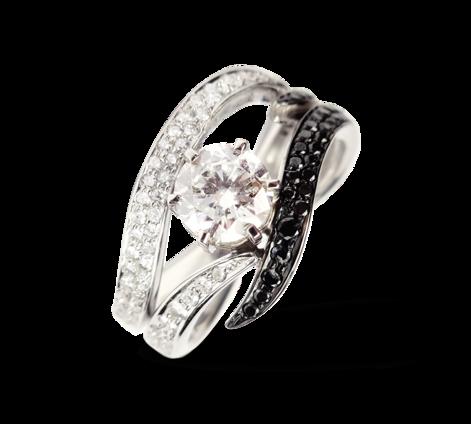 Кольцо из белого золота с черными и белыми бриллиантами, артикул 31130 - Baskrin