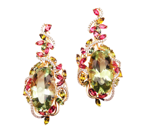 Серьги из золота с драгоценными камнями, артикул 41165_ - Baskrin