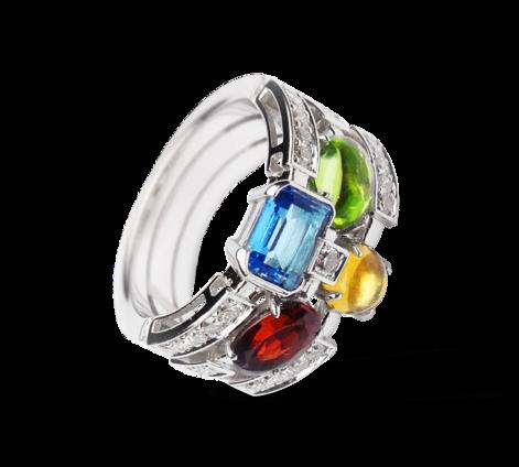 Эксклюзивное кольцо с драгоценными камнями и бриллиантами из белого золота, артикул 33329 - Baskrin