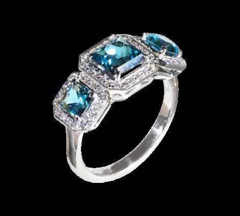 Кольцо из белого золота с бриллиантами и топазами, артикул 33414 - Baskrin