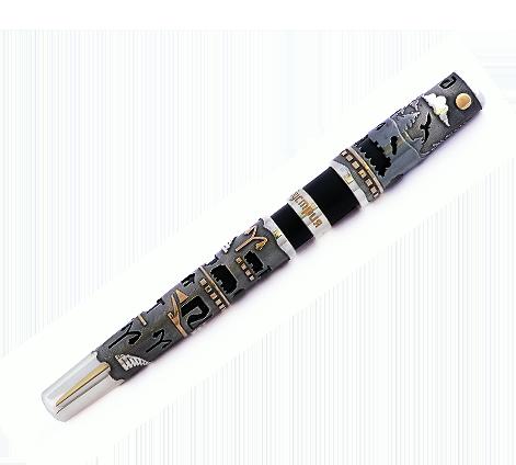 Эксклюзивная ручка из серебра с чернением и золочением, артикул Эксклюзивная ручка с орнаментом - Baskrin