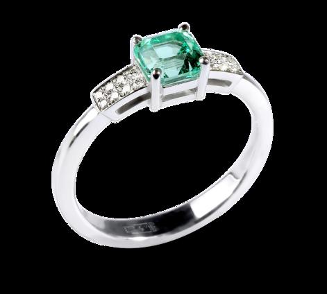 Эксклюзивное кольцо из белого золота с бриллиантами и изумрудом, артикул 33656 - Baskrin