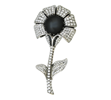 Оригинальная брошь из белого золота с бриллиантами и жемчугом, артикул 91002 - Baskrin