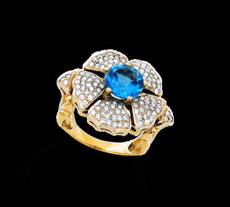 Кольцо из золота с бриллиантами и топазом, артикул 30380 - Baskrin