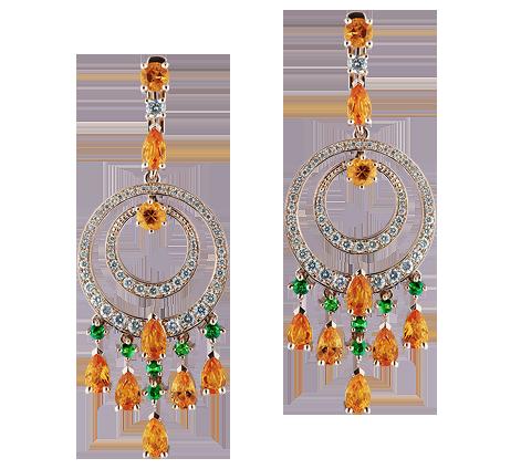 Эксклюзивные золотые серьги с бриллиантами, тсаворитами и сапфирами, артикул 43559b - Baskrin
