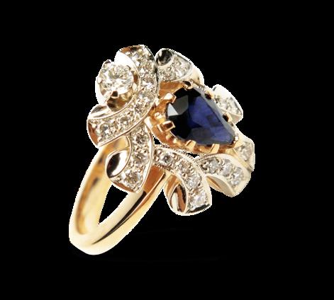 Кольцо из золота с бриллиантами и сапфиром, артикул 30449 - Baskrin