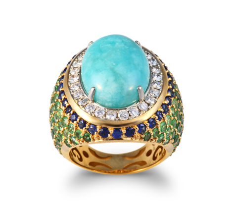 Кольцо из желтого золота с бриллиантами, сапфирами, цаворитами и амазонитами, артикул 33440 - Baskrin