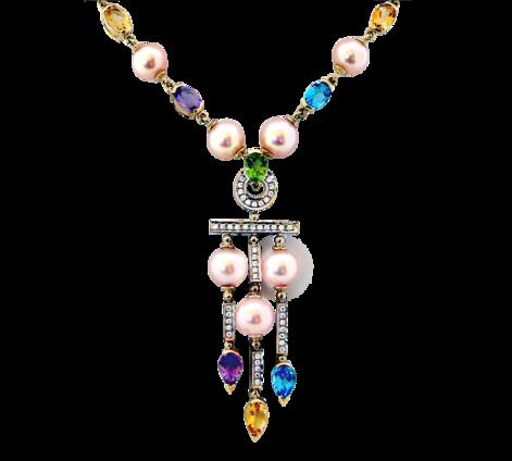 Колье из белого золота с бриллиантами, жемчугом и полудрагоценными камнями, артикул 81463 - Baskrin