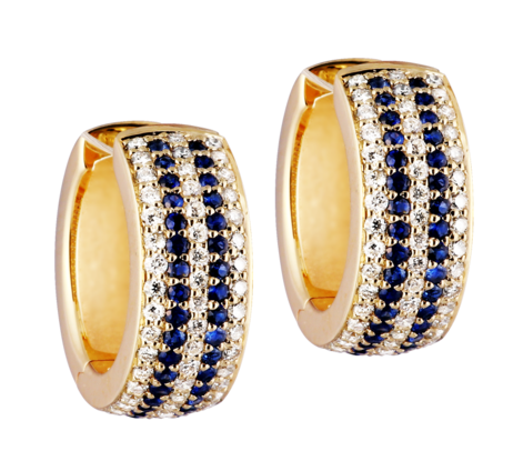 Серьги из золота с бриллиантами и сапфирами, артикул 43133 - Baskrin