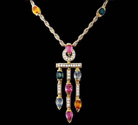 Колье из золота с бриллиантами и полудрагоценными камнями, артикул 81461 - Baskrin
