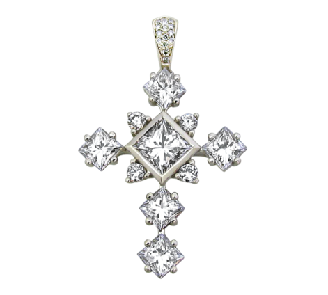 Подвеска из белого золота с бриллиантами, артикул 63113 - Baskrin