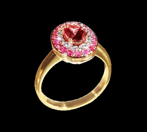 Кольцо из золота с бриллиантами и рубинами, артикул 30720 - Baskrin