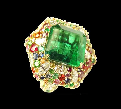 Кольцо из золота с бриллиантами и драгоценными камнями, артикул 33233 - Baskrin