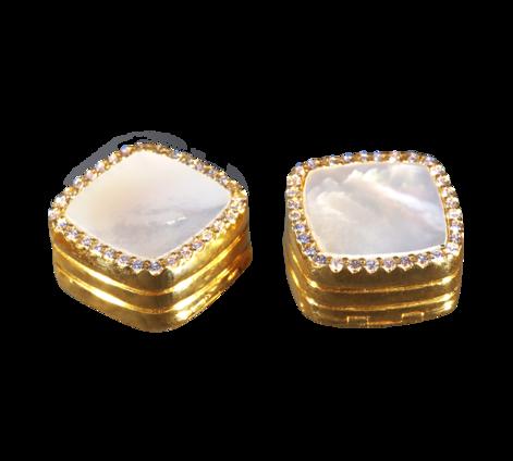 Запонки из золота с бриллиантами и перламутром, артикул 20052a - Baskrin