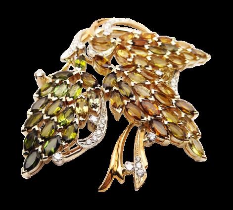 Брошь из золота с бриллиантами и турмалинами, артикул 91166 - Baskrin