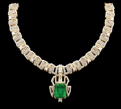 Колье из золота с бриллиантами и изумрудом, артикул 81035 - Baskrin
