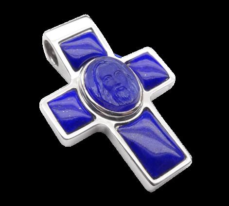 Крест из белого золота с сапфиром, артикул 63106 - Baskrin