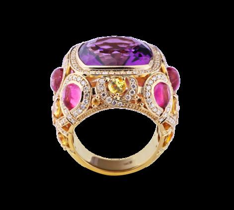 Кольцо из золота с бриллиантами, аметистами и турмалинами и сапфирами, артикул 33415-1, фото 2 - Baskrin