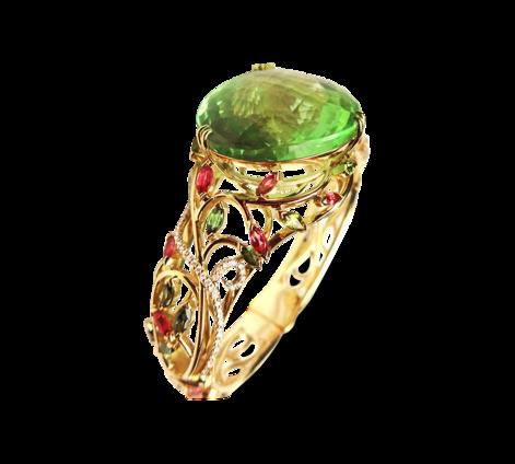 Браслет из золота с бриллиантами турмалинами и флюоритом, артикул 71165- - Baskrin