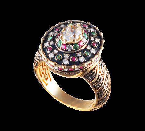 Оригинальное женское кольцо из золота с бриллиантами, рубинами и изумрудами, артикул 33425 - Baskrin