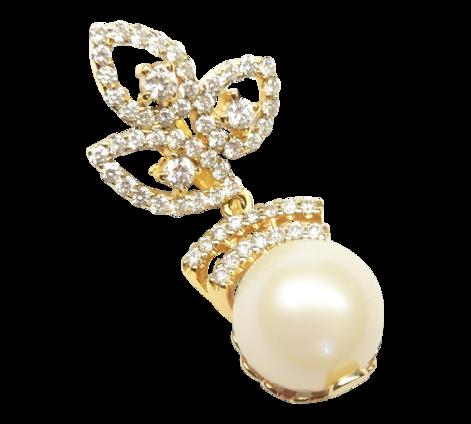 Подвеска из золота с бриллиантами и жемчугом, артикул 61147_ - Baskrin
