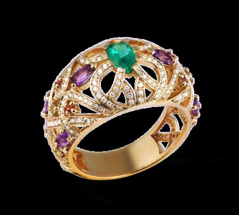 Кольцо из желтого золота с бриллиантами, изумрудом и полудрагоценными  камнями, артикул 33455 - Baskrin