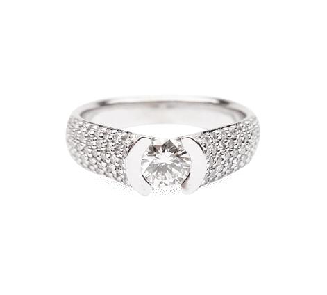 Кольцо из белого золота с бриллиантами, артикул 33349 - Baskrin