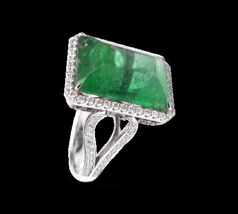 Кольцо из белого золота с бриллиантами и изумрудом, артикул 33283 - Baskrin