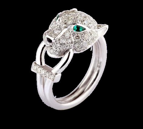Эксклюзивное кольцо из белого золота  с изумрудами и агатом, артикул 33538 - Baskrin
