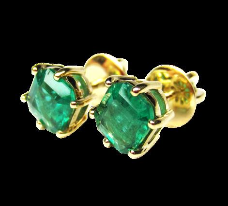 Серьги из золота с изумрудами, артикул 40973 - Baskrin