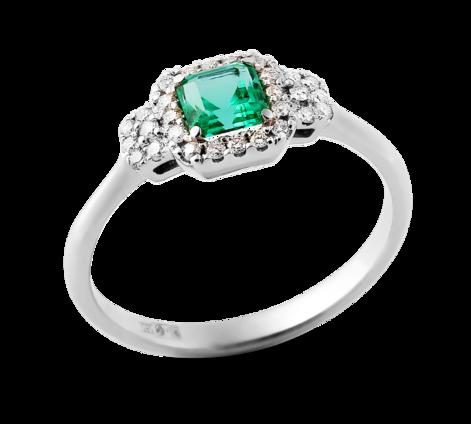 Эксклюзивное кольцо из белого золота с бриллиантами и изумрудом, артикул 33659 - Baskrin