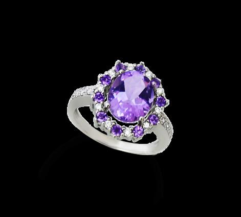 Кольцо из белого золота с бриллиантами и аметистами, артикул 33035 - Baskrin