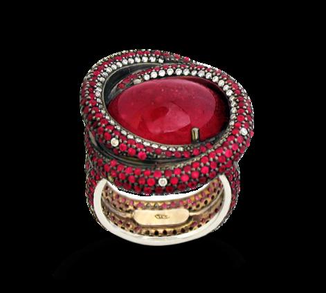 Кольцо из золота с бриллиантами и рубинами, артикул 31124 - Baskrin