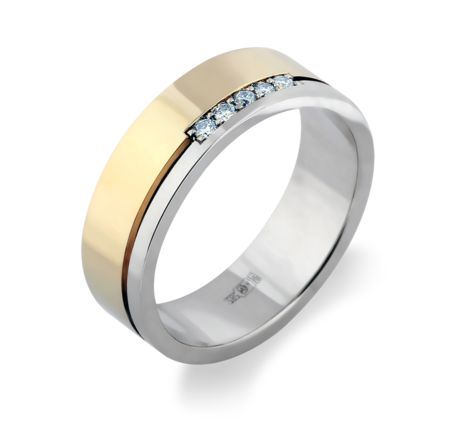 Кольцо из белого и желтого золота с бриллиантами, артикул 33648 - Baskrin