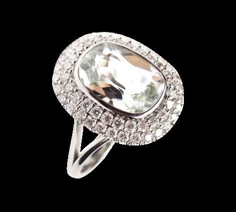 Кольцо из белого золота украшенное бриллиантами и аквамарином, артикул 33279 - Baskrin