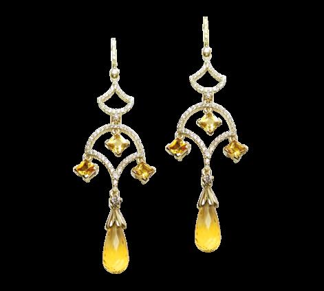 Серьги из золота с бриллиантами и цитринами, артикул 43254 - Baskrin